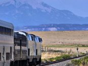 The Southwest Chief roughly 20 minutes east of Trinidad, Colorado. The Sangre de Cristo Range looms in the distance by Steve Wilson via Wikimedia Commons