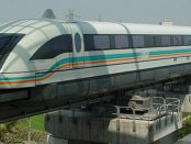 Shanghai Maglev Train connecting the Pudong Airport with the city by Andreas Krebs via Wikimedia Commons
