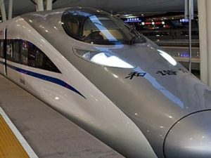 Serving the Beijing–Shanghai High-Speed Railway, a CRH380AL EMU at Shanghai Hongqiao Station by Jucember via Wikimedia Commons