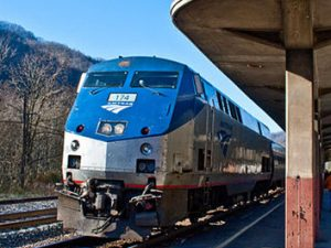 Amtrak's Cardinal has stopped to pick up and discharge passengers in Prince, West Virginia. Photo by jpmueller99 from Shenandoah Valley, Virginia via Wikimedia Commons