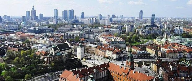 Warsaw panorama by Lemarx from Wikimedia Commons