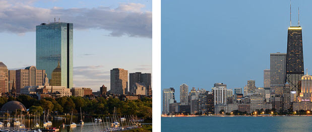 Back Bay and the Charles River and Chicago skyline at dusk - both views by King of Hearts via Wikimedia Commons