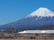 Mountain Fuji and Shinkansen bullet train at Fuji city