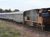 'The Overland' train headed for Adelaide
