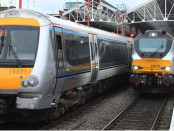 A pair of Chiltern Railway services at London Marylebone, ready to go to Birmingham Snow Hill