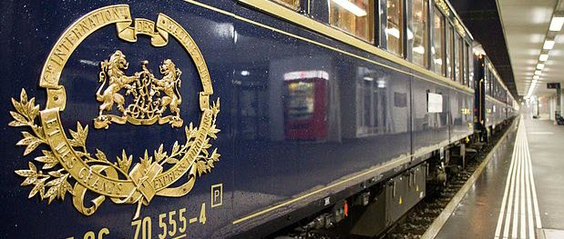 The Orient Express, formally the Compagnie Internationale des Wagons-Lits, during a halt at Buchs (St. Gallen), border station between Liechtenstein and Switzerland