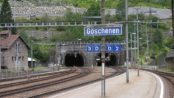 Entrance to the Gotthard tunnel from Göschenen station by Audrius Meskauskas via Wikimedia Commons