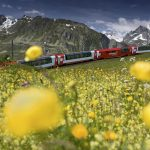 The Glacier Express between the Furka and the Oberalp Pass near Hospental - by Christof Sonderegger