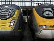 Two Eurostar trains in St. Pancras railway station (London, United Kingdom) by 0x010C from Wikimedia Commons