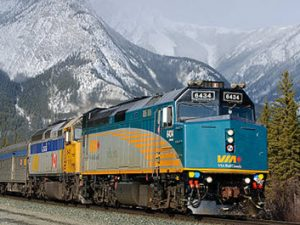 VIA #1, The Canadian is led by newly rebuilt F40PH 6434 near Jasper, Alberta photo by Timothy Stevens via Wikimedia Commons